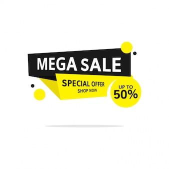 Superventas amarillas y negras hasta 50% de compras de etiquetas de plantilla de banner con estilo plano