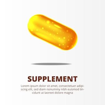 Suplemento 3d de pastillas de oro amarillo para el cuidado de la salud.