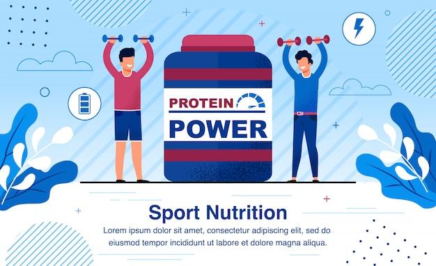 Suplemento nutrición deportiva banner plana