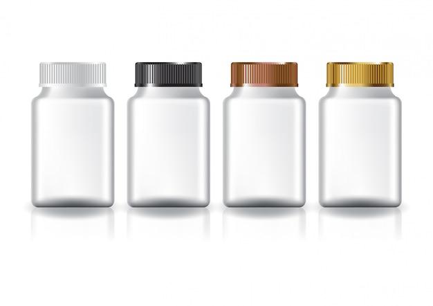 Suplementos cuadrados blancos o botella de medicina