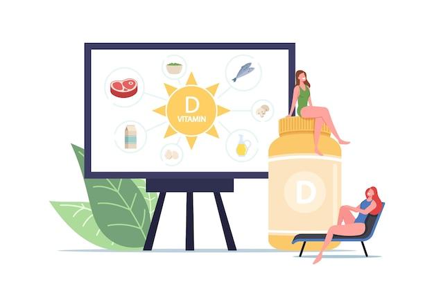 Suplementos nutricionales adictivos para la salud. pequeños personajes femeninos en enorme botella con vitamina d y presentación en pantalla con productos saludables que contienen vitaminas. ilustración de vector de gente de dibujos animados