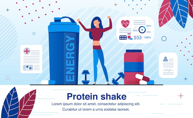 Suplementos para proteinhake flat banner