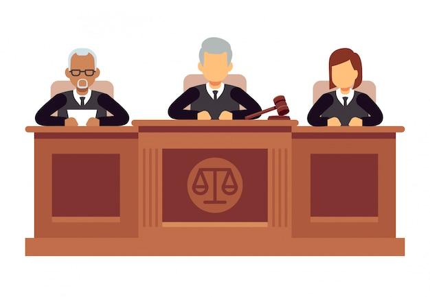 Suprema corte federal con jueces. concepto de vector de jurisprudencia y derecho