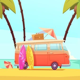 Surf y autobús ilustración de dibujos animados retro
