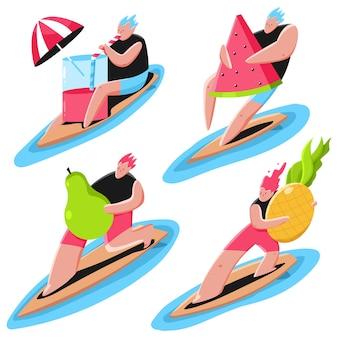 Surfista con ilustración de concepto de verano de dibujos animados de frutas y cócteles aislado en un fondo blanco