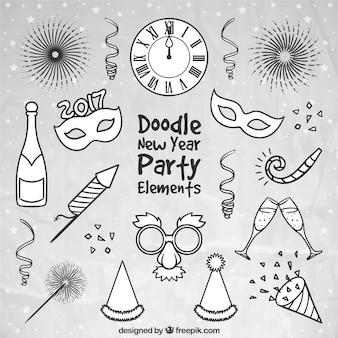 Surtido de accesorios de fiesta de año nuevo dibujados a mano