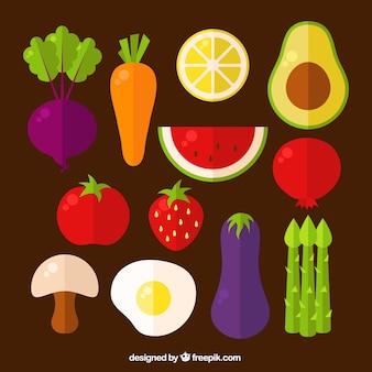 Surtido de alimentos coloridos en diseño plano