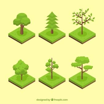Surtido de árboles verdes en estilo isométrico