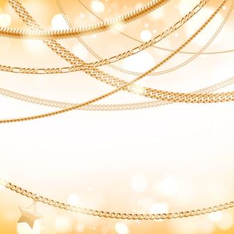 Surtido de cadenas doradas sobre fondo de brillo claro con colgante de estrella. bueno para el lujo de banner de tarjeta de portada.
