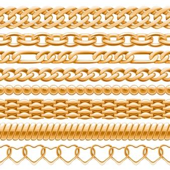 Surtido de cadenas de oro sobre fondo blanco sin costuras. cepillos para tu.