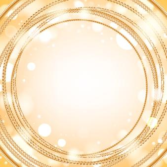 Surtido de cadenas de oro sobre fondo redondo resplandor ligero. bueno para el lujo de banner de tarjeta de portada.