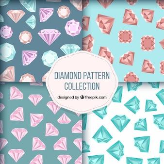 Surtido de cuatro patrones con diamantes planos