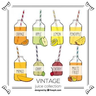 Surtido dibujado a mano de zumos de fruta en estilo vintage