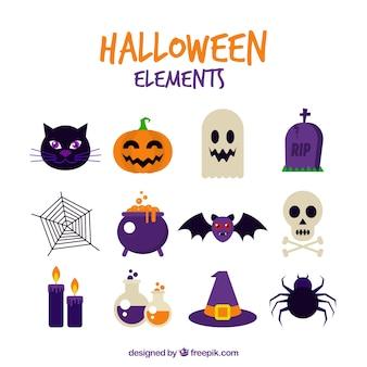 Surtido de elelementos de celebración de halloween