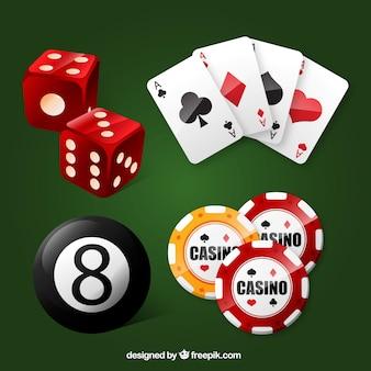 Surtido de elementos del casino