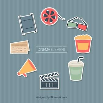 Surtido de elementos de cine