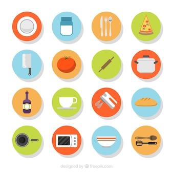 Surtido de elementos de cocina en diseño plano