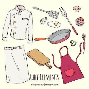 Surtido de elementos de cocina con uniforme de chef dibujados a mano