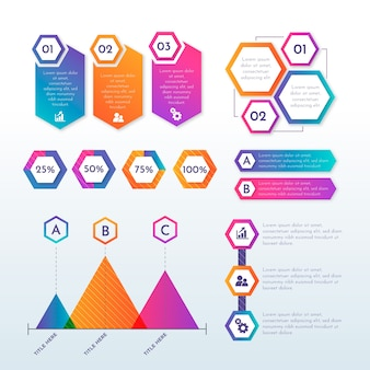 Surtido de elementos de infografía gradiente