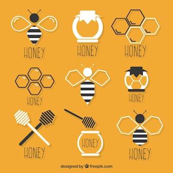 Surtido de elementos planos de miel