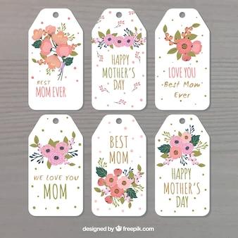 Surtido de etiquetas florales para el día de la madre