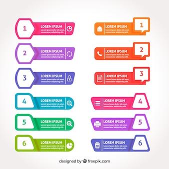 Surtido fantástico de banners infográficos coloridos