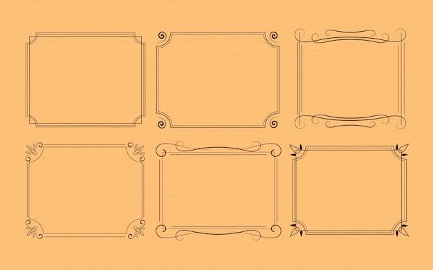 Surtido de marcos ornamentales caligráficos