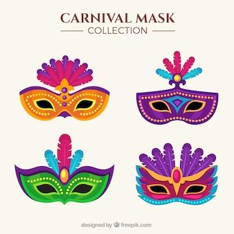 Surtido de máscaras de colores en diseño plano