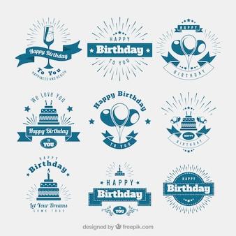 Surtido de nueve insignias de cumpleaños