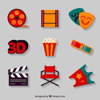 Surtido de objetos de cine en diseño plano