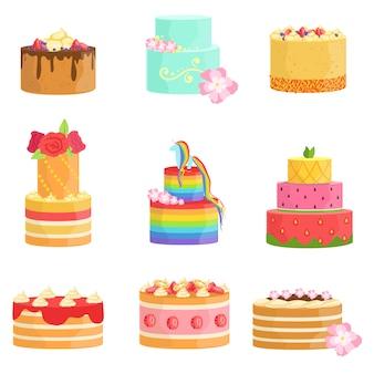 Surtido de pasteles decorados para ocasiones especiales