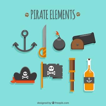 Surtido plano de elementos pirata