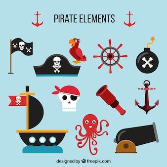 Surtido plano de elementos de piratas