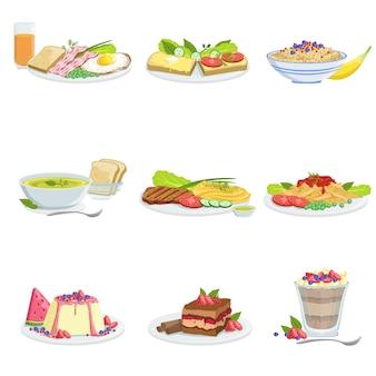 Surtido de platos de cocina europea elementos del menú ilustraciones detalladas