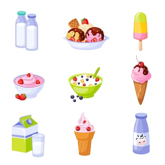Surtido de productos lácteos conjunto de iconos