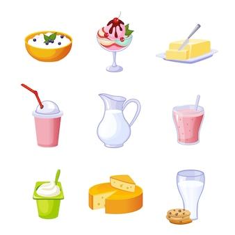 Surtido de productos lácteos diferentes conjunto de iconos