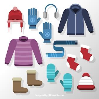 Surtido de ropa básica invernal en diseño plano