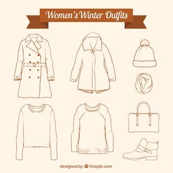 Surtido de ropa de invierno y accesorios dibujados a mano