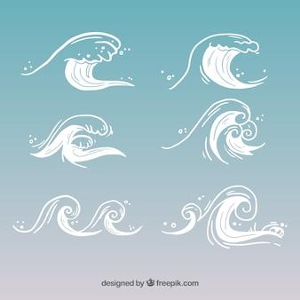 Surtido de seis olas dibujadas a mano
