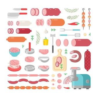 Surtido variedad de iconos de productos cárnicos procesados en frío.