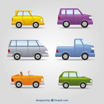 Surtido de vehículos con diferentes diseños y colores