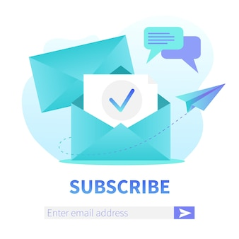 Suscríbase a nuestra plantilla de banner web cuadrado para boletín. sobre abierto con nueva carta. marketing por correo, banner de registro de entrega de servicio de correspondencia.