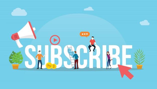Suscríbete al canal de redes sociales concepto de video