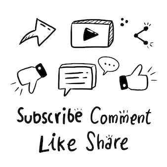 Suscríbete icono conjunto grande de la colección del doodle