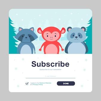 Suscríbete plantilla de correo de dibujos animados emergente con animales. boletín online con lindos animales salvajes en estilo plano.