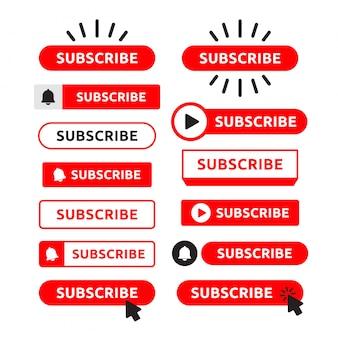 Suscribirse, conjunto de botones de campana. botón rojo suscribirse al canal, blog. medios de comunicación social . márketing. ilustración