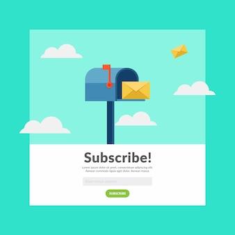 Suscribirse a correo electrónico diseño plano ilustración vectorial