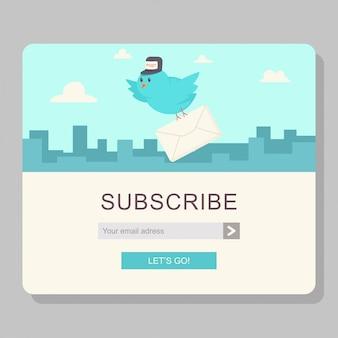 Suscripción por correo electrónico con el cartero pájaro azul y carta de papel