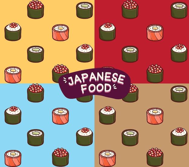 Sushi, comida japonesa, seamless, patrón, plano de fondo