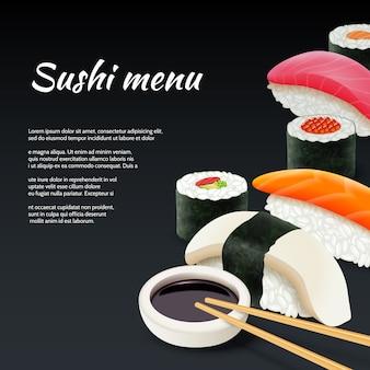 Sushi en fondo negro